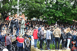 © Licensed to London News Pictures. 15/05/2017. Leeds UK. Huge crowds have gathered to see Jeremy Corbyn speaking at the Brundenell Social Club in Leeds this afternoon on the General Election trail. Photo credit: Andrew McCaren/LNP