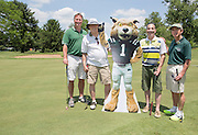 Left to right: Rusty Thomas, Tom Romine, Sandy Krum, and Larry Starr at the alumni golf outing. Photo by Lauren Pond