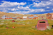 Rusted car and buildings on Main Street, Bodie State Historic Park (National Historic Landmark), California