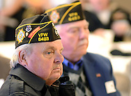 WARMINSTER, PA -  NOVEMBER 11: Jack Michniewicz (L) and Jerry Crandley listen to a speech during the re-dedication of the Veteran's Wall of Honor November 11, 2013 at William Tennent High School in Warminster, Pennsylvania. (Photo by William Thomas Cain/Cain Images)