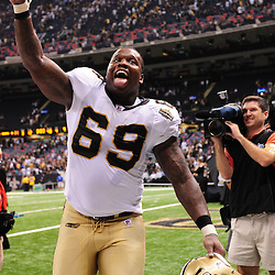 September 9, 2010; New Orleans, LA, USA;  New Orleans Saints defensive lineman Anthony Hargrove (69) celebrates following a 14-9 win over the Minnesota Vikings in the NFL Kickoff season opener at the Louisiana Superdome.  Mandatory Credit: Derick E. Hingle