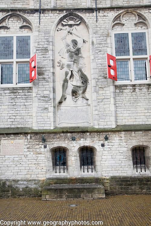 Second world war memorial, historic town hall, Gouda, South Holland, Netherlands