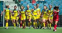 BRUSSEL - Georgina Morgan (Aus.) scored     during AUSTRALIA v SPAIN , Fintro Hockey World League Semi-Final (women) . COPYRIGHT KOEN SUYK