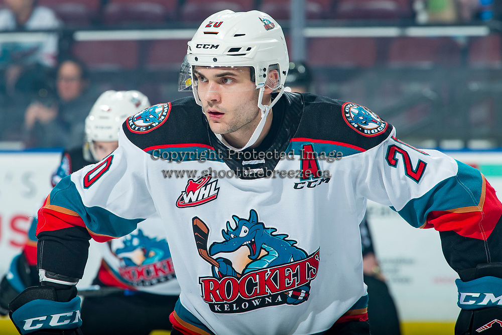 KELOWNA, BC - FEBRUARY 12: Matthew Wedman #20 of the Kelowna Rockets lines up for the face-off against the Tri-City Americans at Prospera Place on February 8, 2020 in Kelowna, Canada. Wedman was selected in the 2019 NHL entry draft by the Florida Panthers. (Photo by Marissa Baecker/Shoot the Breeze)
