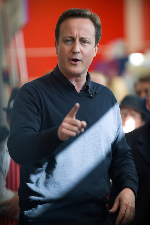 Conservatives leader David Cameron visits a Tesco's supermarket in Flintshire, North Wales, on 2 May 2010, meeting employees and delivering a speech.  With the general election looming on 6 May 2010, considered to be the closest and most fiercely fought in decades, candidates are campaigning at a torrid pace, holding many events throughout the UK.