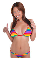 Young and sensual woman thumbs up with colorful bikini.