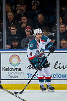 KELOWNA, CANADA - JANUARY 30: Devin Steffler #4 of the Kelowna Rockets skates against the Seattle Thunderbirds on January 30, 2019 at Prospera Place in Kelowna, British Columbia, Canada.  (Photo by Marissa Baecker/Shoot the Breeze)