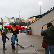 Mascots Mittsy and Spikes greet children during the Rochester Red Wings V The Scranton/Wilkes-Barre RailRiders, Minor League ball game at Frontier Field, Rochester, New York State. USA. 16th April 2013. Photo Tim Clayton