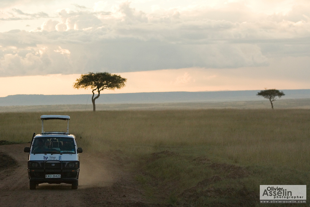 Safari minibus driving on dirt road at sunset in Masai Mara National Park, Kenya.