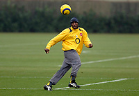 Photo: Daniel Hambury.<br />Arsenal Training Session. 06/12/2005.<br />Sol Campbell passes the ball during training ahead of tomorrows Champions League game against Ajax.