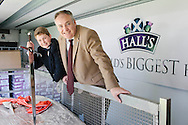 Royal Highland Show, 2014. Halls reclaim World's largest haggis record at the `Highland Show. 15 year old Cameron Hill from Kilmarnock, son of Browns Food Group  with Richard Lochhead Cab. sec. PAYMENT TO CRAIG STEPHEN 07905 483532