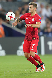 June 22, 2017 - Kielce, Poland - Karol Linetty (POL), during the UEFA European Under-21 Championship Group A match between England and Poland at Kielce Stadium on June 22, 2017 in Kielce, Poland. (Credit Image: © Foto Olimpik/NurPhoto via ZUMA Press)