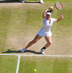 LONDON, ENGLAND - Tuesday, July 1, 2008: Jie Zheng (CHN) during the Ladies' Singles Quarter-Final on day eight of the Wimbledon Lawn Tennis Championships at the All England Lawn Tennis and Croquet Club. (Photo by David Rawcliffe/Propaganda)