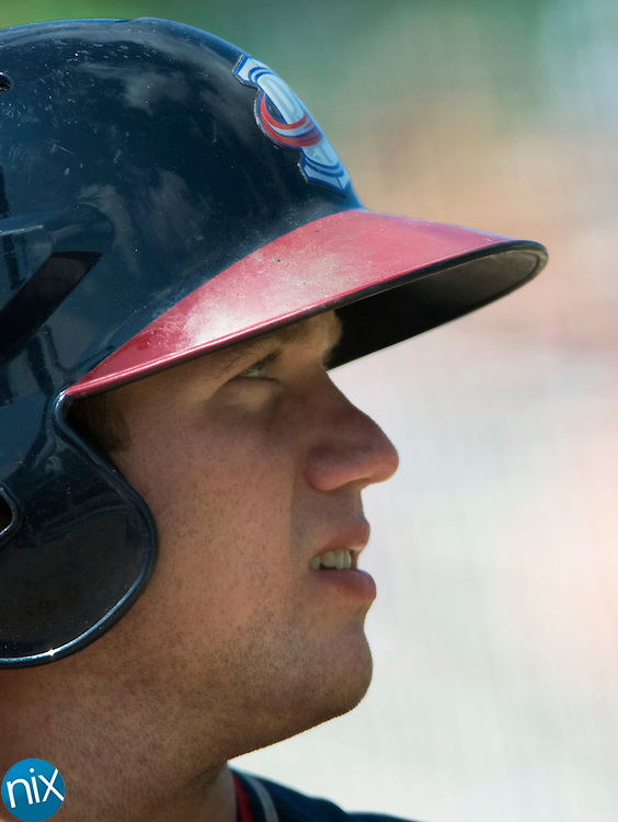 Rome Braves catcher Ryan Query during a game against the Kannapolis Intimidators Wednesday morning at CMC-NorthEast Stadium. Query played high school baseball at A.L. Brown High School. (photo by James Nix).