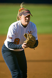Virginia third baseman Abby Snyder (9).  The Virginia Cavaliers softball team fell to the Georgetown Hoyas 4-0 at the University of Virginia's The Park in Charlottesville, VA on March 20, 2008.