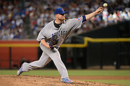 Aug 12, 2017; Phoenix, AZ, USA; Chicago Cubs starting pitcher John Lackey (41) delivers a pitch in the MLB game against the Arizona Diamondbacks at Chase Field. Mandatory Credit: Jennifer Stewart-USA TODAY Sports