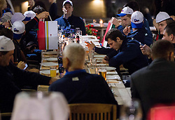 Goran Dragic of Slovenia and Zoran Dragic of Slovenia at dinner after the reception of Slovenia National basketball team after they placed 5th at Eurobasket 2013 on September 22, 2013 in Fan zone Kongresni trg, Ljubljana, Slovenia. (Photo by Vid Ponikvar / Sportida)