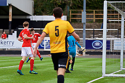MERTHYR TYDFIL, WALES - Thursday, November 2, 2017: Wales' Callum Jones scores the third goal during an Under-18 Academy Representative Friendly match between Wales and Newport County at Penydarren Park. (Pic by David Rawcliffe/Propaganda)