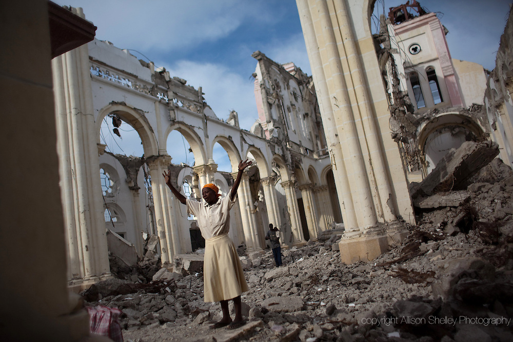 A woman prays in the wreckage of Notre Dame de l'Assomption-- the main cathedral in Port-au-Prince, Haiti-- January 9, 2011. The cathedral, built between 1884 and 1914, was destroyed in the January 12 earthquake.