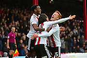 Brentford midfielder Jota (23) celebrates his goal with Brentford midfielder Ryan Woods (15) during the EFL Sky Bet Championship match between Brentford and Brighton and Hove Albion at Griffin Park, London, England on 5 February 2017. Photo by Jon Bromley.
