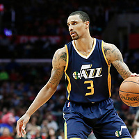 25 March 2016: Utah Jazz guard George Hill (3) dribbles during the Los Angeles Clippers 108-95 victory over the Utah Jazz, at the Staples Center, Los Angeles, California, USA.