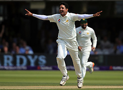 Pakistan's Mohammad Abbas celebrates taking the wicket of England's Stuart Broad during day four of the First NatWest Test Series match at Lord's, London.