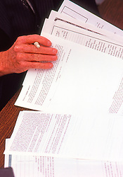 Lawyer looking over mortgage papers