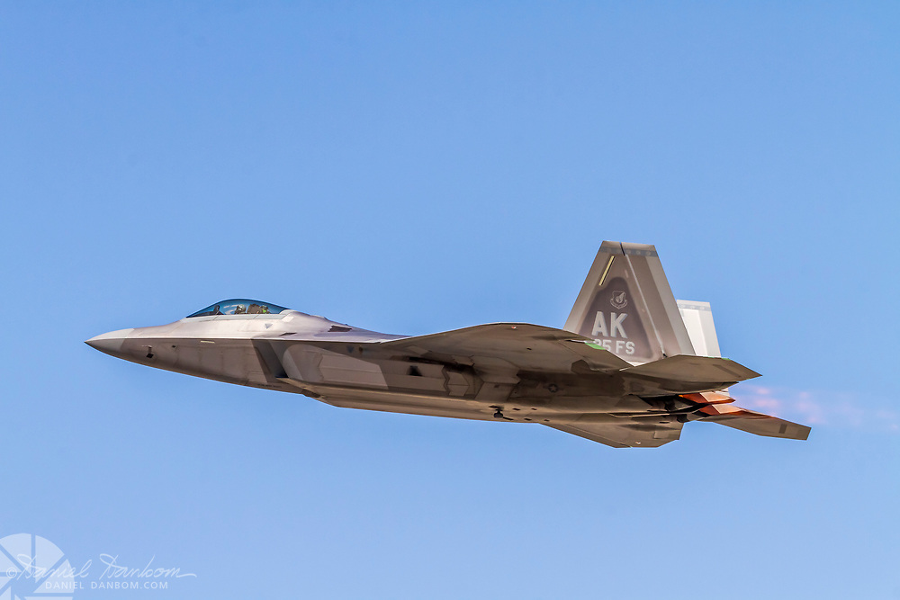 F-22 Raptor taking off, with afternburners alight, MRY, Monterey, California