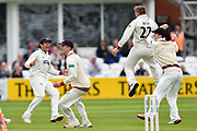 Wicket - Dom Bess of Somerset celebrates taking the wicket of Dawid Malan of Middlesex during the Specsavers County Champ Div 1 match between Somerset County Cricket Club and Middlesex County Cricket Club at the Cooper Associates County Ground, Taunton, United Kingdom on 27 September 2017. Photo by Graham Hunt.