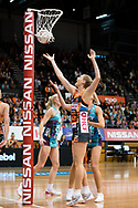SYDNEY, NSW - JUNE 22: Caitlin Bassett of the Giants shoots a goal during the round 9 Super Netball match between the Giants and the Vixens at Quaycentre on June 22, 2019 in Sydney, Australia. (Photo by Speed Media/Icon Sportswire)
