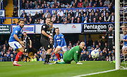 Portsmouths Conor Chaplin shot goes wide during the Sky Bet League 2 match between Portsmouth and Mansfield Town at Fratton Park, Portsmouth, England on 24 October 2015. Photo by Adam Rivers.