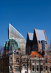 Contrasting view of old and new buildings on skyline of The Hague in The Netherlands