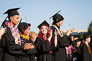 Call Hills Class of 2012 senior Lauren Guzzetta and classmates applaud their accomplishments to kick off graduation at Milpitas High School on June 15, 2012.  Photo by Stan Olszewski/SOSKIphoto.