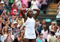 July 1, 2019 - London, ENG, U.S. - LONDON, ENGLAND - JULY 01: Fifteen year old school girl, Cori Gauff (USA) reacts with tears an emotion after defeating 39 year old, 5 time Wimbledon Champion, Venus Williams (USA) during The Championships, Wimbledon, on July 1, 2019, at the All England Lawn Tennis and Croquet Club in London, England. (Photo by Cynthia Lum/Icon Sportswire) (Credit Image: © Cynthia Lum/Icon SMI via ZUMA Press)