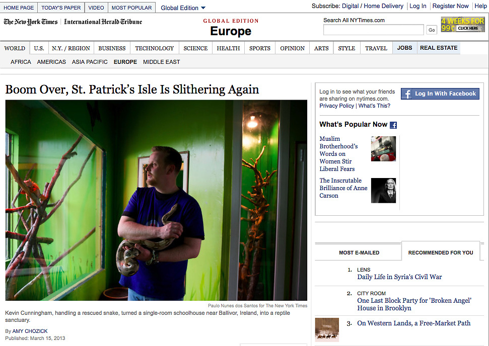 "Tearsheet of ""Boom Over, St. Patrick's Isle Is Slithering Again"" published in The New York Times"