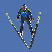 Winter Olympics, Vancouver, 2010.Gregor Schlierzauer, Austria, winning a Gold Medal with his team in the Ski Jumping Team final event at Whistler Olympic Park , Whistler, during the Vancouver Winter Olympics. 22nd February 2010. Photo Tim Clayton