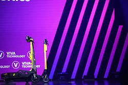 Jamaican Olympic sprinter Usain Bolt poses with a e-scooter from his new company Bolt Mobility during his visit at the Vivatech startups and innovation fair, in Paris on May 16, 2019. Photo by Eliot Blondet/ABACAPRESS.COM