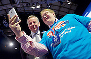 Conservative Party Conference <br /> Manchester, Great Britain <br /> Day 3<br /> 6th October 2015 <br /> <br /> Tory activist gets a selfie with Michael Gove MP <br /> <br /> <br /> <br /> Photograph by Elliott Franks <br /> Image licensed to Elliott Franks Photography Services