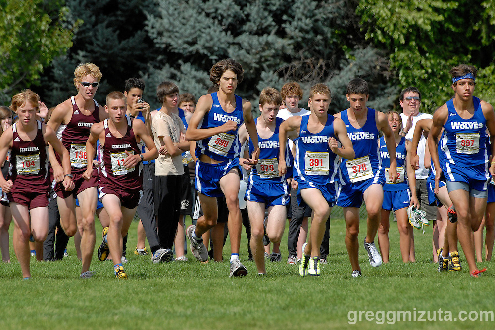 The start of the boy's varsity race (L to R) Mark Chatterton, Shauton Stubbs, Micah Drew, Jay Iuliano, Chris Frank, Brennen Keen, Conner Farley, and Isaac Outhet during the Jimmy Driscoll Invitational at Bishop Kelly High School on August 28, 2010.