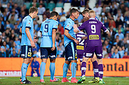 April 29, 2017: Sydney FC forward Filip HOLOSKO (21) gets ready for an incoming corner at Semi Final one of the 2016/17 Hyundai A-League match, between Sydney FC and Perth Glory, played at Allianz Stadium in Sydney.