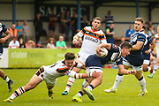Bradford Bulls second row James Bentley (20) tackles Swinton Lions Jack Hanson (nn)  during the Kingstone Press Championship match between Swinton Lions and Bradford Bulls at the Willows, Salford, United Kingdom on 20 August 2017. Photo by Simon Davies.