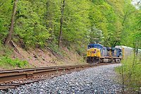 CSX Train on tracks, Patapsco River Valley, Maryland , USA