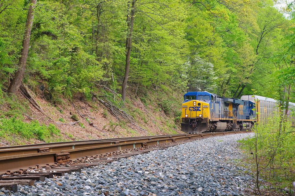 CSX Train on tracks, Patapsco River Valley, Maryland , USA