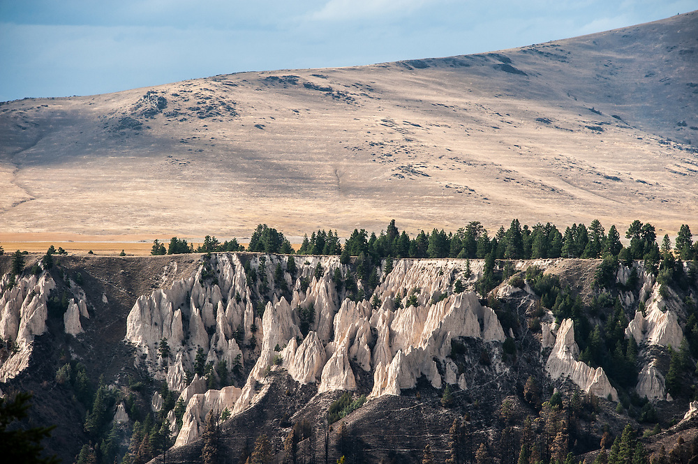 View of cliff formations above the Flathead River looking west from Kerr Dam