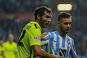Southend United midfielder Will Atkinson  Coventry City forward Adam Armstrong during the Sky Bet League 1 match between Coventry City and Southend United at the Ricoh Arena, Coventry, England on 31 August 2015. Photo by Simon Davies.