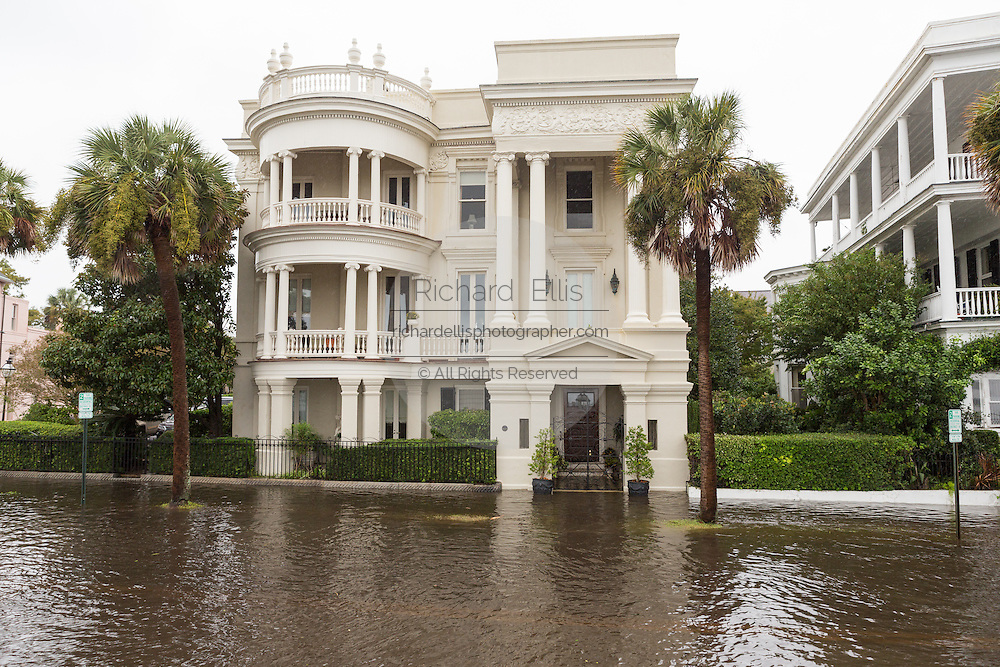 A stately home in floodwater along the Battery in the historic district as Hurricane Joaquin brings heavy rain, flooding and strong winds as it passes offshore October 4, 2015 in Charleston, South Carolina.