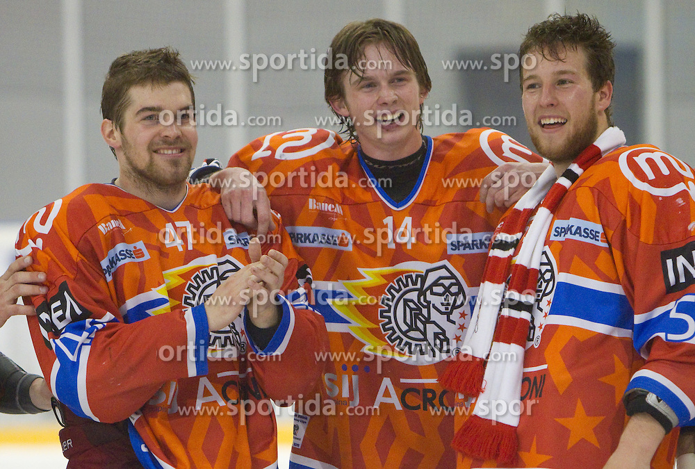 Matevz Erman, Ziga Jeglic and Robert Sabolic of Acroni Jesenice celebrate after winning the ice-hockey match between HK Acroni Jesenice and HDD Tilia Olimpija in fourth game of Final at Slovenian National League, on April 8, 2011 at Arena Podmezakla, Jesenice, Slovenia. Jesenice defeated Olimpija 4-2 and became Slovenian National Champion 2010-2011. (Photo by Vid Ponikvar / Sportida)