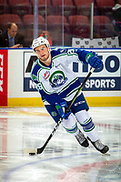 KELOWNA, BC - OCTOBER 16:  Hayden Ostir #26 of the Swift Current Broncos warms up with the puck against the Kelowna Rockets at Prospera Place on October 16, 2019 in Kelowna, Canada. (Photo by Marissa Baecker/Shoot the Breeze)