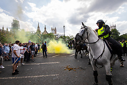 © Licensed to London News Pictures. 14/07/2018. London, UK. PICTURED: pro Trump/Robinson supporters and police clash . Supporters of EDL founder Tommy Robinson ( real name Stephen Yaxley-Lennon ) and US President Donald Trump and anti fascists clash on Westminster Bridge during a day of demonstrations and rallies in support and opposed to US President Donald Trump and jailed EDL founder Tommy Robinson . Trump is currently in Scotland and Robinson is in HMP Hull . Photo credit: Joel Goodman/LNP