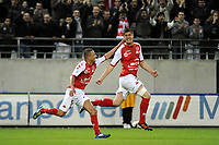 FOOTBALL - FRENCH CHAMPIONSHIP 2011/2012 - STADE DE REIMS v AS MONACO   - 07/05/2015 - PHOTO JEAN MARIE HERVIO / REGAMEDIA / DPPI - JOY ANTHONY WEBER (STR) AFTER HIS GOAL
